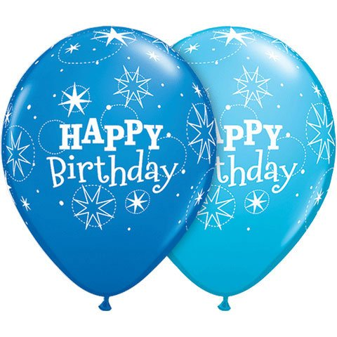 "11"" Birthday Sparkle Dk. Blue/ Latex Balloons (10 per package)"