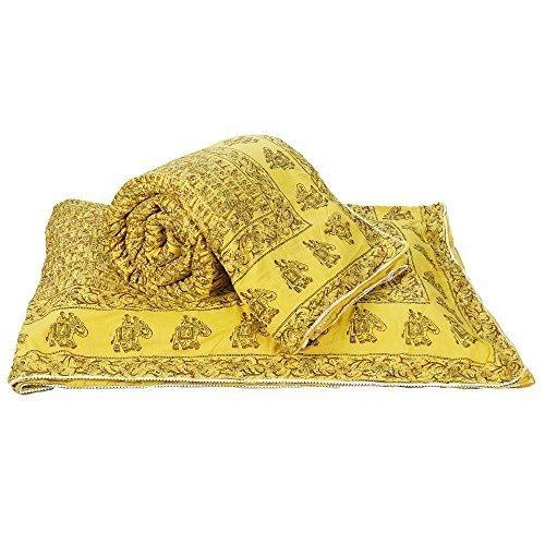 Bloque de mano Rajastán Little India 2 piezas Algodón juego de funda de edredón para cama individual amarillo
