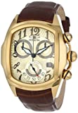 Invicta Mens Lupah Swiss Chronograph 18k Gold Plated Case Brown Leather Strap Watch 13003
