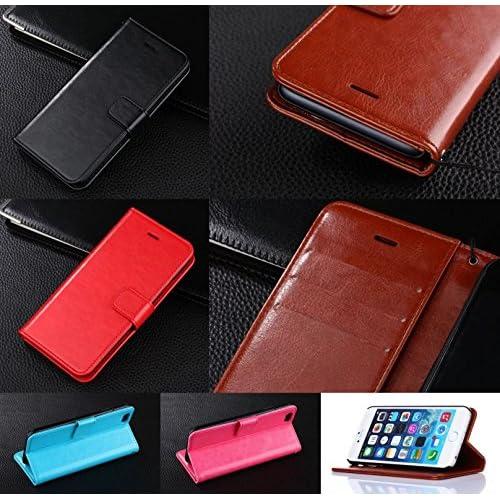 iPhone6 6Plus 高級 レザー 手帳型 携帯 カバー 全5色 二つ折り 財布型 ダイアリー タイプ 革 黒 白 赤 青 黄 緑 ピンク 茶 紺 ベージュ オレンジ スエード アイフォン 6 6プラス スマホ ケース  (目印に便利、「ホナまたステッカー」付き)[ケンコバハンズ] (6Plus茶)