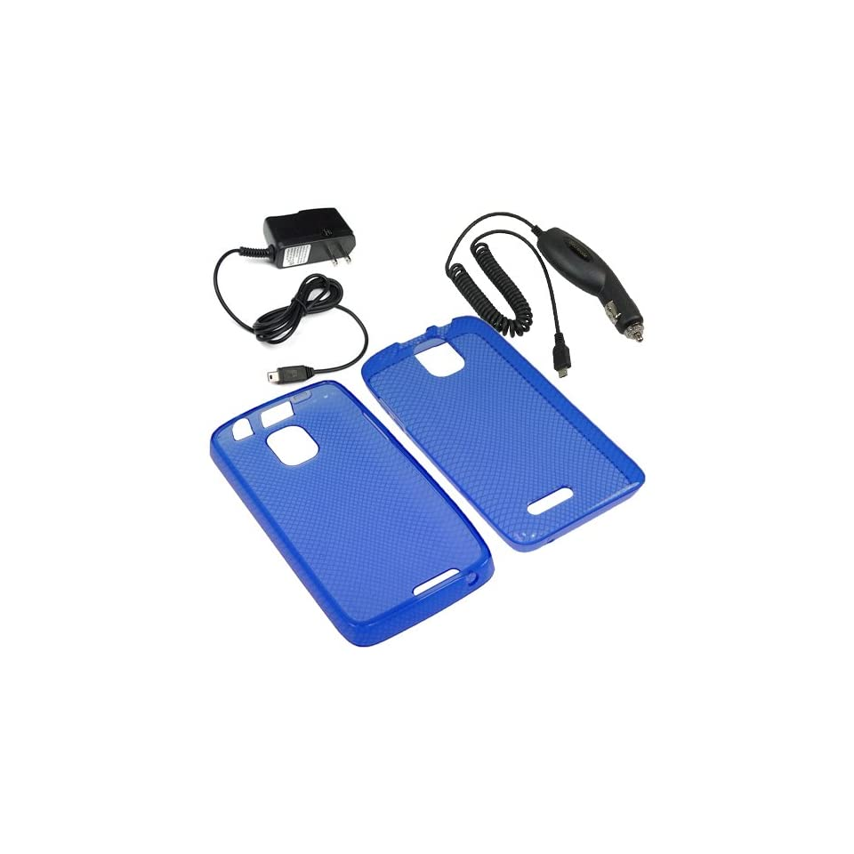 Eagle TPU Sleeve Gel Cover Skin Case for Cricket ZTE Engage LT N8000 + Car + Home Charger Blue