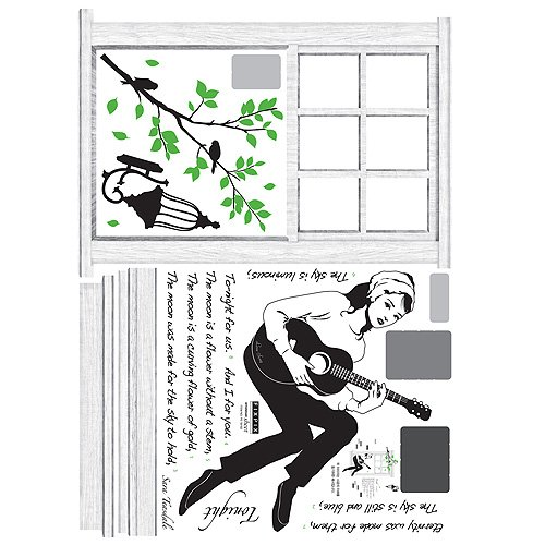 Reusable Decoration Wall Sticker Decal - Audrey Windowsill Guitar Song Serenade