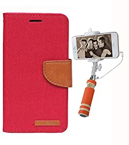 Aart Fancy Wallet Dairy Jeans Flip Case Cover for MotorolaMotoE2 (Red) + Mini Fashionable Selfie Stick Compatible for all Mobiles Phones By Aart Store