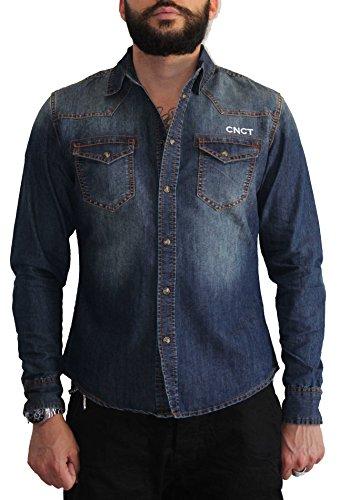 Cholos , camicia jeans da uomo con inserti in tartan no wash ...