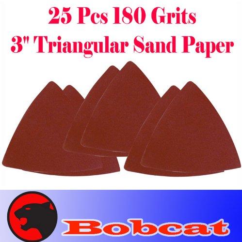 "Pack 25 Sandpaper 180 Grits 3"" Triangular Sand Paper W/ Velcro Oscillating Multi Tool Saw Blades For Fein Multimaster Bosch Multi-X Craftsman Nextec Dremel Multi-Max Ridgid Dremel Chicago"