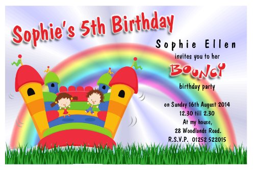 10 Personalised Bouncy Castle Party Invitations N86