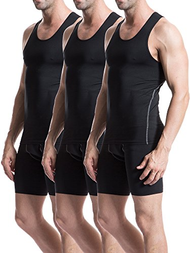 Neleus-Mens-3-Pack-Athletic-Compression-Under-Base-Layer-Sport-Tank-Top