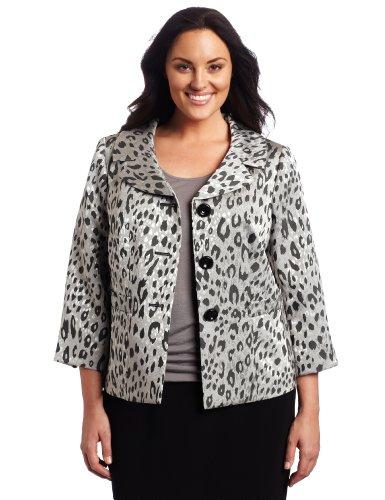 Lesuit Women's Plus-Size Animal Print Skirt Suit