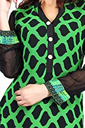 Feather Touch Women's Georgette Kurti (FT3085GR1_Green_36)