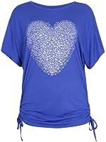 Purple Hanger - T-Shirt Imprimé Coeur Paillettes Extensible Manches Chauve-Souris Grande Taille Femme