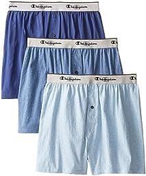 Champion Men\'s 3-Pack Knit Boxer, Assorted Blues, X-Large