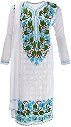 AKS Lucknow Women's Regular Fit Kurti (TK-74_38, WHITE , 38)