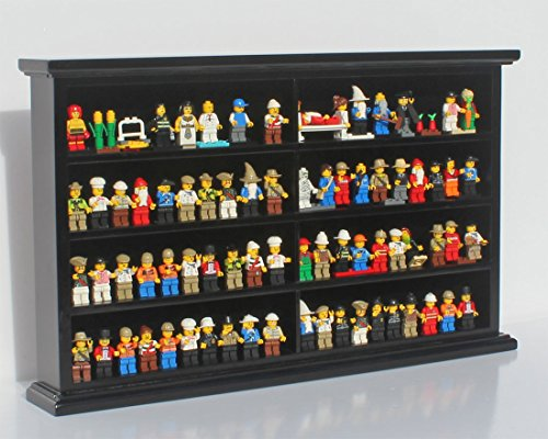 Kid-Safe Toy Minifigures Miniatures Figurines Display Case Wall Cabinet Stand, Solid Wood (Black) (Toy Display Case compare prices)