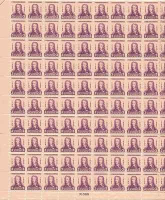 General Oglethorpe Sheet of 100 x 3 Cent US Postage Stamps NEW Scot 726