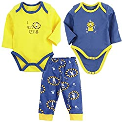Snuggles Full Sleeve Bodysuit with Pant Lion print (Pack of 3) - Rivera/Butter Cup (3-6M)