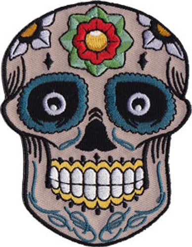 Application Candy Skull with Flower Patch