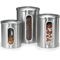 Polder Stainless Steel Window Canister Set with Lids