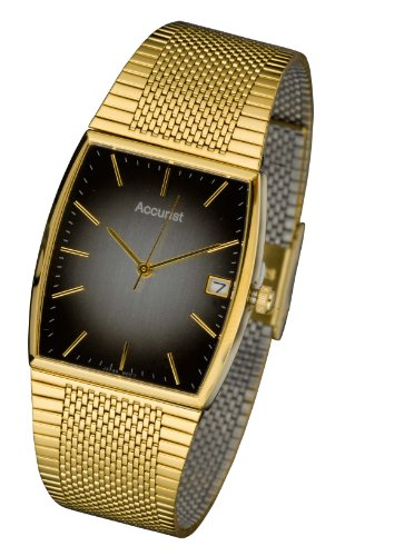 Accurist MB847BR Gents Gold Tone Brown dial Bracelet Watch