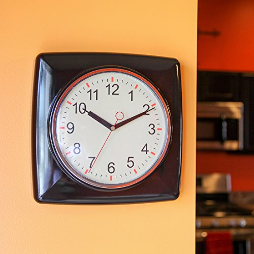 "Lily's Home Square Retro Kitchen Wall Clock, Large Dial Quartz Timepiece, Black, 11"" 1"