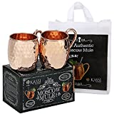 KASSI Moscow Mule Copper Mugs - w/ Free Bonus Tote Bag - Handcrafted 100% Pure Solid Hammered Finish Copper Cups Cocktails & Cold Drinks Bar Set - Gift Set of 2 Unlined 16 oz Mugs