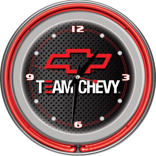 Trademark Global Team Chevy Racing Neon Clock, 14-Inch