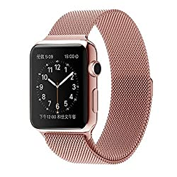 ProElite 38 mm Stainless Steel Milanese Loop Strap with Magnetic Lock Buckle Wrist Band for Apple Watch - Rose Gold [*Watch NOT included*]