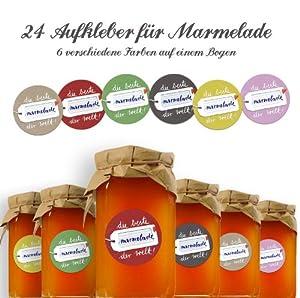 24 Marmeladenetiketten DIE BESTE MARMELADE DER WELT (beige, gelb, grau, rot, grün und rosa), selbstklebende Etiketten für Marmeladengläser und Einmachgläser zum Beschriften, RUND, 40mm