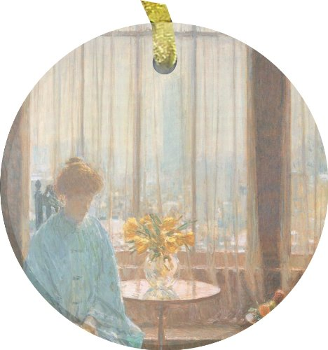 Rikki Knighttm Childe Hassam Art The Breakfast Room On A Winter Morning Bevelled Glass Ornament front-633156