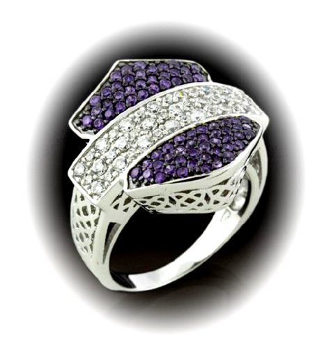 Harley-Davidson® Women's Silhouette Bar & Shield Cocktail Dress Ring. Purple and White Cubic Zirconia's. RCR0006 (8)