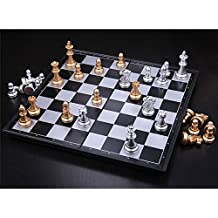 Generic 1 Set Magnetic Wallet Style International Chess Set Mini Chess Set Magnetic Chess Pieces Folding Chessboard...