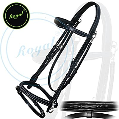 Royal Quick Release Working Bridle with PP Rubber Grip Reins./ Vegetable Tanned Leather./ Stainless Steel Buckles.