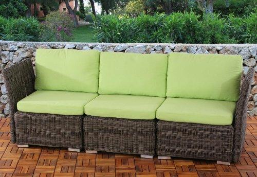 3er Sofa 3-Sitzer Siena Poly-Rattan, Gastronomie-Qualität ~ naturgrau mit Kissen in hellgrün