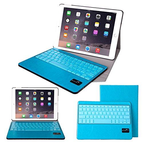 【F.G.S】ブルー iPad Air2 Bluetooth キーボード 良質PUレザーケース付き カバー ワイヤレスキーボード キーボード分離可能 F.G.S正規代理品
