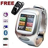 SVP The newest Stylish Cell Phone Smart Watch Model The G14 Sliver Camera GSM Quad-band Watch Phone ~ UNLOCKED ~