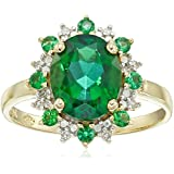10k Yellow Gold Created Emerald and Diamond Accent Ring, Size 7