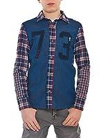 MEK Camisa Niño Tartan Denim (Azul / Burdeos)