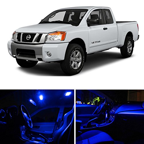 Ledpartsnow Nissan Titan 2004-2014 Blue Premium Led Interior Lights Package Kit (10 Pieces)
