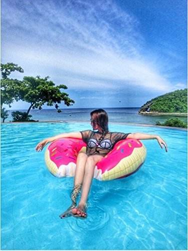 [Kids Backyard Strawberry Pink Donut Teens Floating H2WHOA Floats Family For Adults Outdoor Swimming] (Donut Costume Homemade)