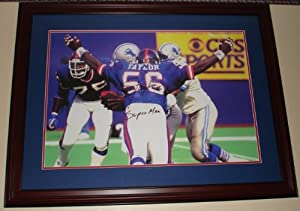 Lawrence Taylor Hand Signed 20 x 30 New York Giants Canvas Print - Custom Framed by VIP Memorabilia