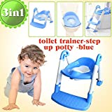 Toddler Toilet Trainer, Potty, Toilet Step - 3 in 1 Toilet Trainer/Potty (Blue)