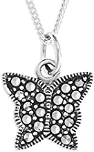 Ornami Sterling Silver and Marcasite Butterfly Pendant on Chain of 46cm