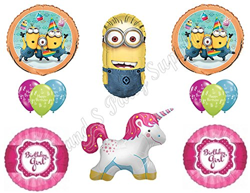 Despicable Me Unicorn Minions Happy Birthday Party Balloons Decorations Supplies