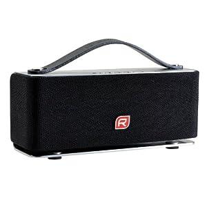 Raikko HEAVY METAL Bluetooth Stereo by Accept mobiler mini aktiv Lautsprecher inkl. Akku (2x 3 Watt, micro-USB, Line-IN) silber