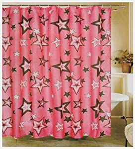 Hot Pink White And Black Stars Fabric Shower Curtain Star Home