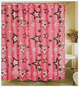 Hot pink white and black stars fabric shower for Star curtain fabric