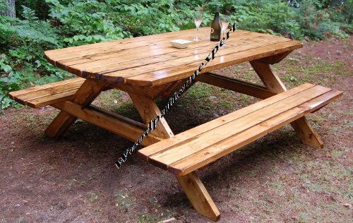 Amazon.com: Build Your Own Wood PICNIC TABLE Family Size Park Style ...