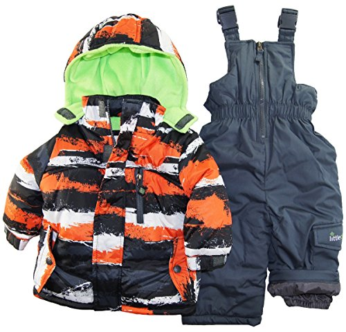 Big Chill Baby Boys Infant Brushed Paint 2 Piece Snowsuit With Ski Pant Set, Orange, 12 Months front-159156