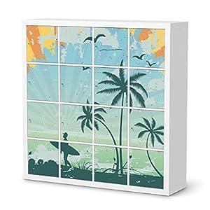 Möbeltattoo IKEA Kallax 16 Türelemente Design Beach Surfer (Artwork) selbstklebend Dekorfolie Wohnzimmer Schlafzimmer Esszimmer