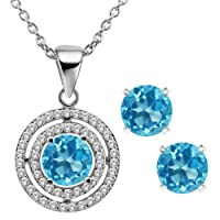 3.64 Ct Round Natural Blue Topaz 925 Sterling Silver Pendant Earrings Set 18""