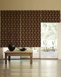 PRESTO BAZAAR 1 Piece Polyester & Cotton Floral Blind - Brown
